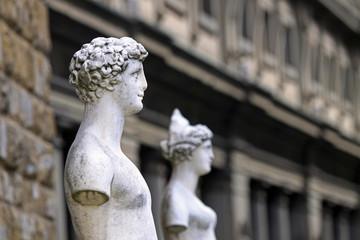 Italia,Toscana,Firenze,statue in piazza della Signoria e il museo degli Uffizi.