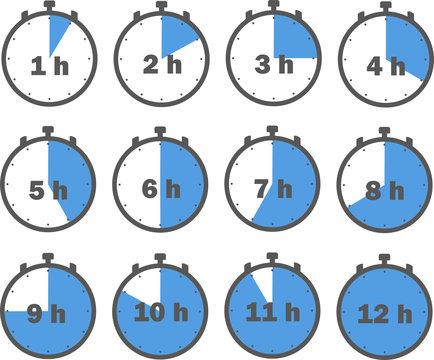 Stoppuhr blau mit Anzeige in Stunden