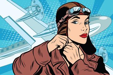 girl pilot prepares for departure