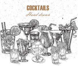 Hand drawn drinks illustration. Vector design vintage beverages
