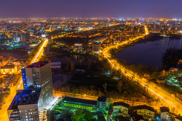 Night view from the tallest building in Bucharest