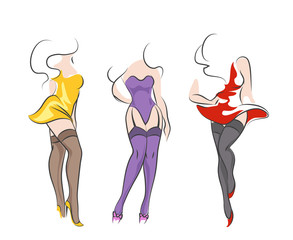 Pin-up women in stockings in different poses. Vector sketch