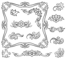 Vintage floral engraving decor elements. Leaf scroll ornament and page decoration, corners ornament and retro flower pattern. Vector illustration