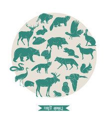 Hand drawn forest animals. Animals silhouettes vintage. Vector