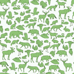 Hand drawn forest animals. Animals seamless background. Vector