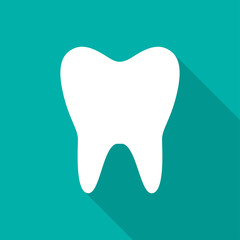 Tooth icon with long shadow. Flat design style. Tooth silhouette. Simple icon. Modern flat icon in stylish colors. Web site page and mobile app design element.