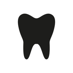 Tooth icon. Black icon isolated on white background. Tooth silhouette. Simple icon. Web site page and mobile app design element.