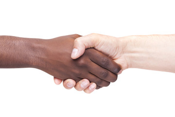African man's hand shaking white man's hand, isolated on white b