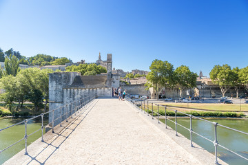 Avignon. View from the bridge of St. Benedict in the city walls and the Papal Palace (a UNESCO World Heritage Site)