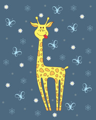 Vector  illustration of giraffe on blue background with flowers  and butterflies