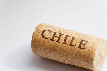 Name of Chile country on surface of cork from the wine. Chile set.