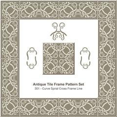 Antique tile frame pattern set_301 Curve Spiral Cross Frame Line