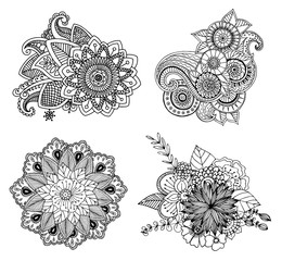 tattoo henna element set