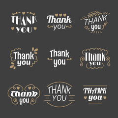 Collection of 9 Thank you labels, emblems, stickers or badges. D