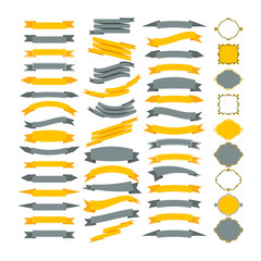 Collection of vector design elements. Big set of frames and ribb