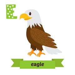 Eagle. E letter. Cute children animal alphabet in vector. Funny