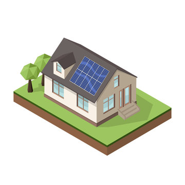 Vector illustration of isometric private cottage or house with sun batteries