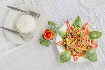 Stir Fried Wild Boar with Red Curry hot and spicy delicious Thai food.