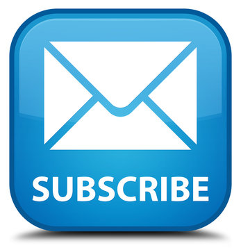 Subscribe (email icon) cyan blue square button