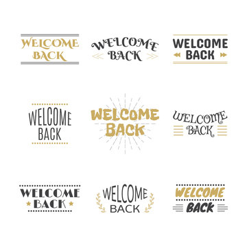 Welcome back collection. Set of labels, emblems, stickers or bad