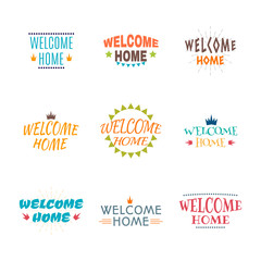 Welcome home collection. Set of 9 colored labels, emblems, stick