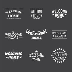 Welcome home collection. Set of 9 labels, emblems, stickers or b