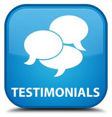 Testimonials (comments icon) cyan blue square button