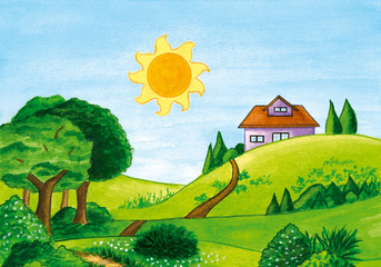 Watercolor illustration of summer landscape with trees and a house on a green hill. Hand drawn painting.