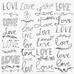 Set of hand-written words. Love lettering. Vector text for your design isolated on white background.