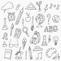 Hand drawn back to school doodles. Vector illustration of school supplies. Back to School.
