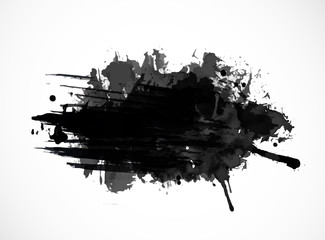 Photo sur Toile Forme Black ink grunge splash isolated on white background