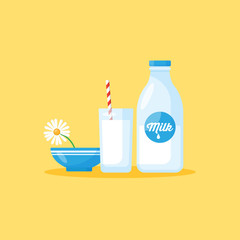 Milk bottle and milk glass. Healthy eating concept for graphic a