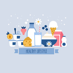 Healthy lifestyle concept with milk and dairy products icons