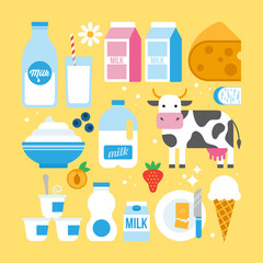 Milk and dairy products icons fro web and graphic design. Milk,