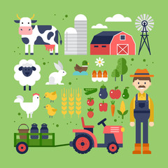 Farm food, products and animals icons. Harvest, agriculture and