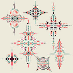 Vector Tribal ethnic ornament. Aztec decor elements.