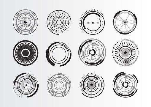 Set of abstract circle elements