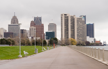 Waterfront Walkway Detroit Downtown City Skyline River Waterfron
