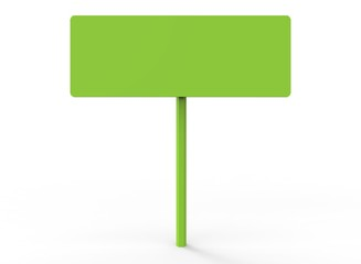 simple road sign. 3d illustration on white background. with shadow. icon for game or for site. simple to use. green color