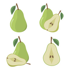 Pear fruit on a white background. Flat styled vector illustration.