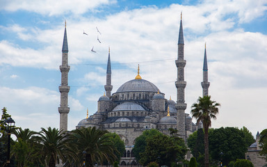 Sultanahmet Mosque (Blue mosque) with blue sky, Istanbul, Turkey