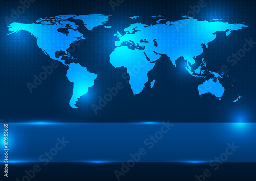 """""""Abstract Digital World Map Vector Illustration. Elements Of This Image Furnished By NASA"""