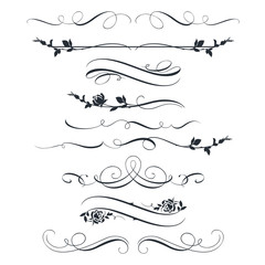 Set of calligraphic decorative elements and flowers