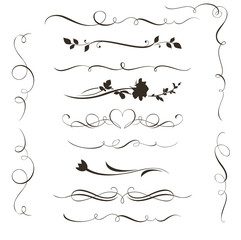 Set of decorative calligraphic elements