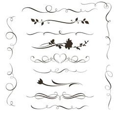 Set of decorative calligraphic elements
