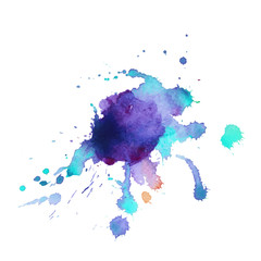 Abstract watercolor stain with splashes of  blue violet color