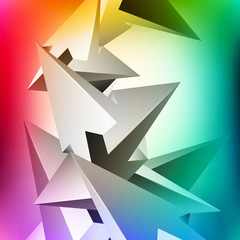 More shapes, unreal construction, geometric elements, many arrows, abstract vector design composition for you project, multicolor version