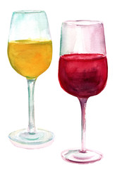 Two watercolor glasses of wine, white and red, on white