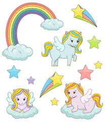 A set of cute magic pegasus fairy tale illustrations. Holiday and event decorations, design elements. Rainbow, clouds, stars.