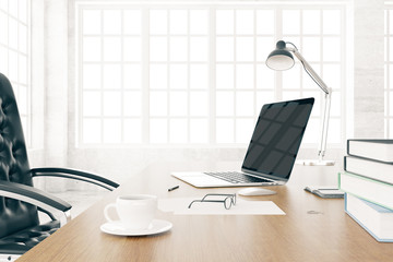 Desktop with blank laptop and cup of coffee, mock up, 3D Render